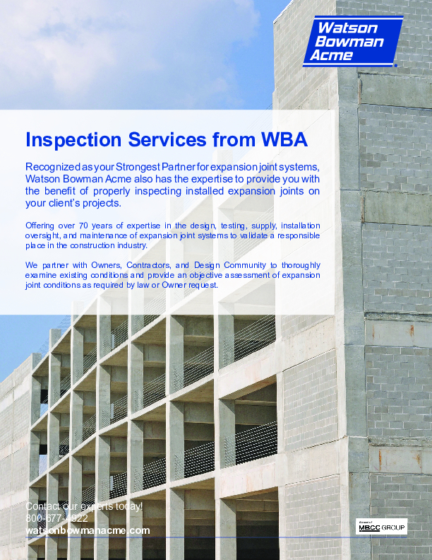 WBA Inspection Services -Parking Cover