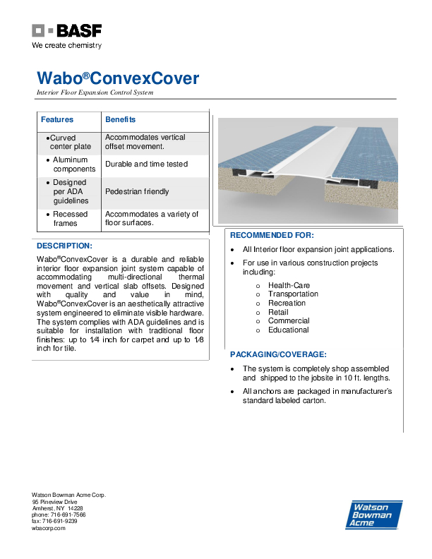 Wabo®ConvexCover (CCF, CCS) Technical Data Sheet Cover