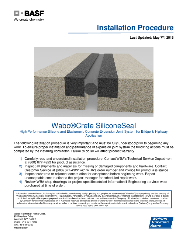 Wabo®Crete SiliconeSeal Installation Procedure Cover
