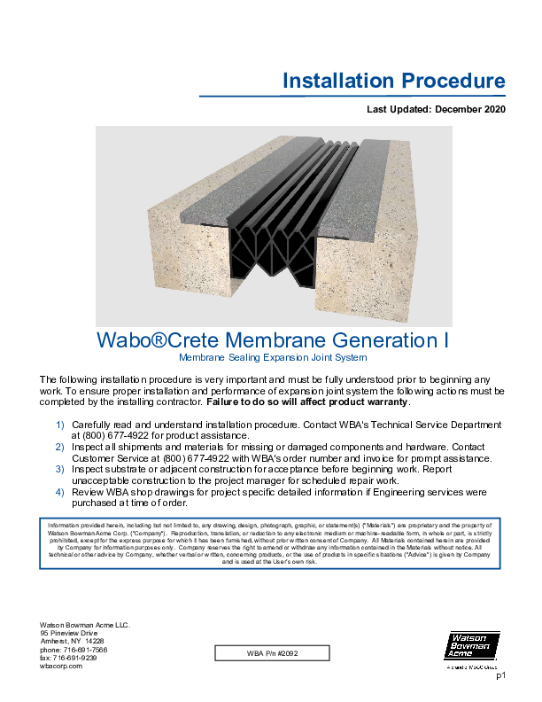 Wabo®Crete Membrane (ME, MM, MX) Installation Procedure Cover
