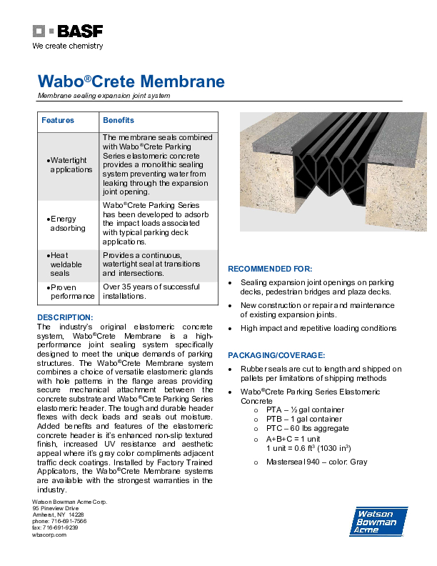 Wabo®Crete Membrane 0820 Technical Data Sheet Cover