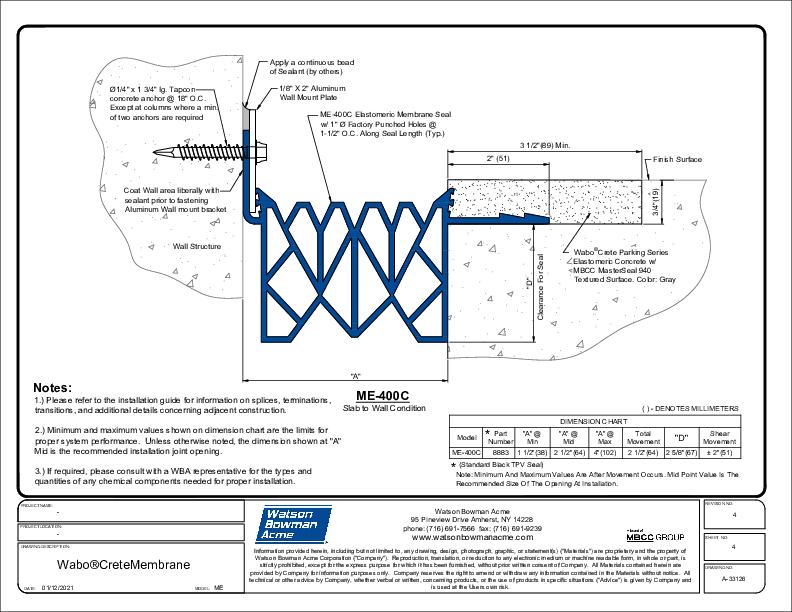 Wabo®CreteMembrane (ME-400C) CAD Detail Cover