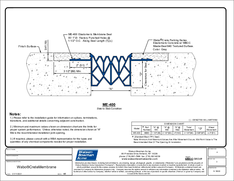 Wabo®CreteMembrane (ME-400) CAD Detail Cover