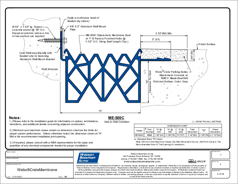 Wabo®CreteMembrane (ME-500C) CAD Detail Cover