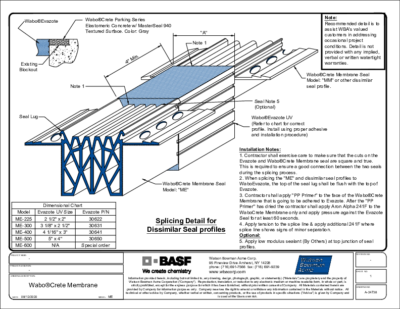 Wabo®CreteMembrane (ME) Splice Detail CAD Detail Cover