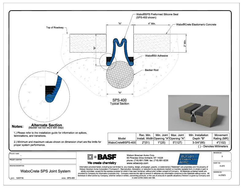 Wabo®CreteSPS (SPS-400) CAD Detail Cover