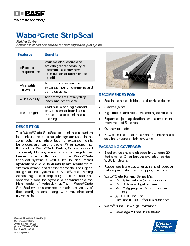 Wabo®Crete StripSeal Park 0920 Technical Data Sheet Cover