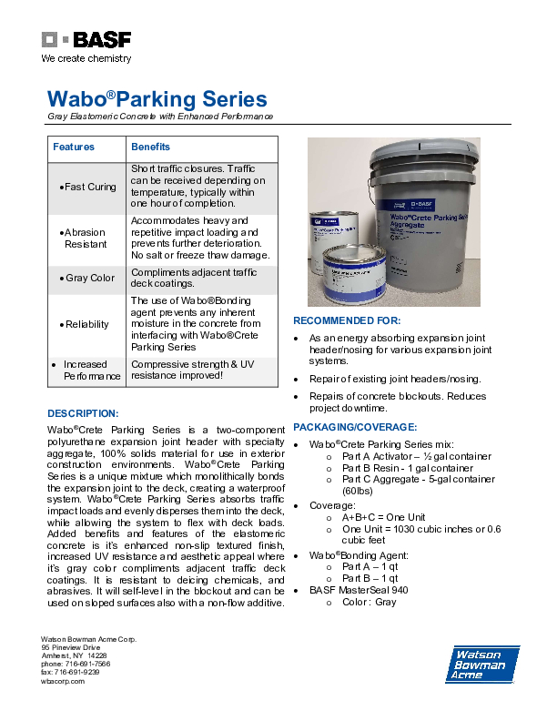 Wabo®Crete Parking Series 0820 Technical Data Sheet Cover
