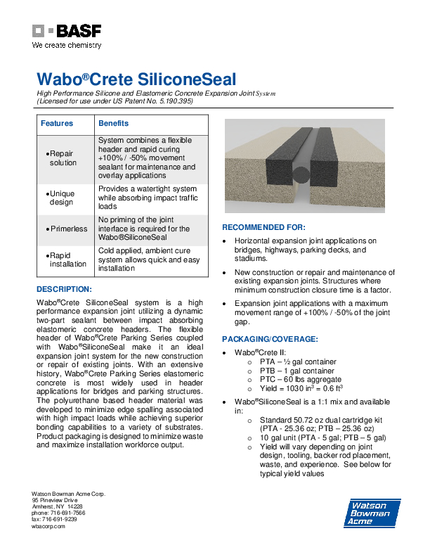 Wabo®Crete SiliconeSeal Technical Data Sheet Cover