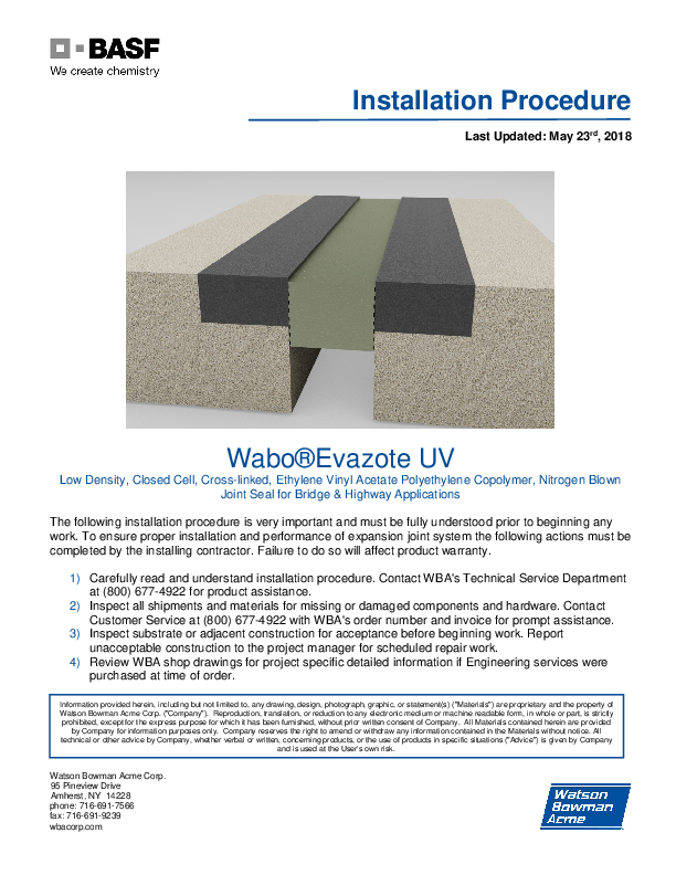 Wabo®Evazote (UV) Installation Procedure Cover