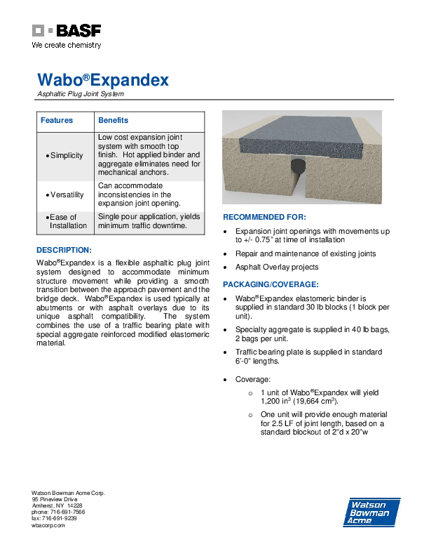 Wabo®Expandex Technical Data Sheet Cover