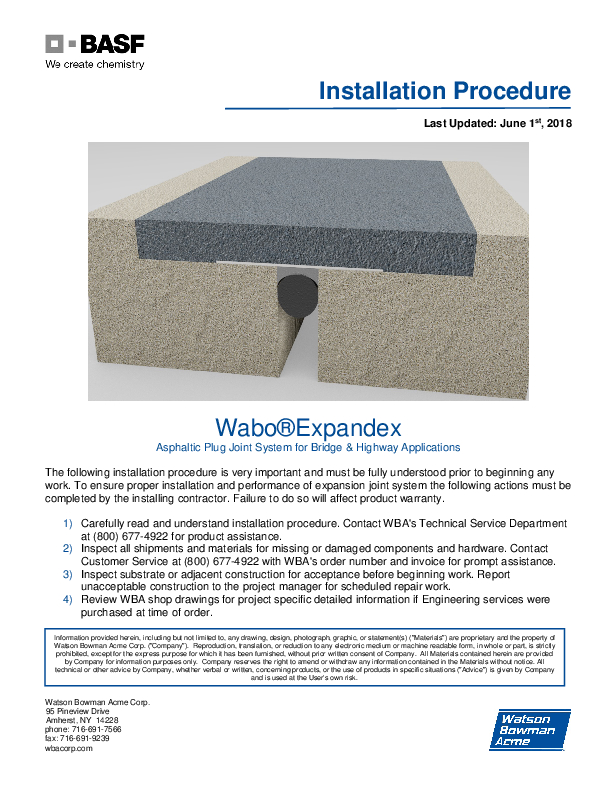 Wabo®Expandex Installation Procedure Cover