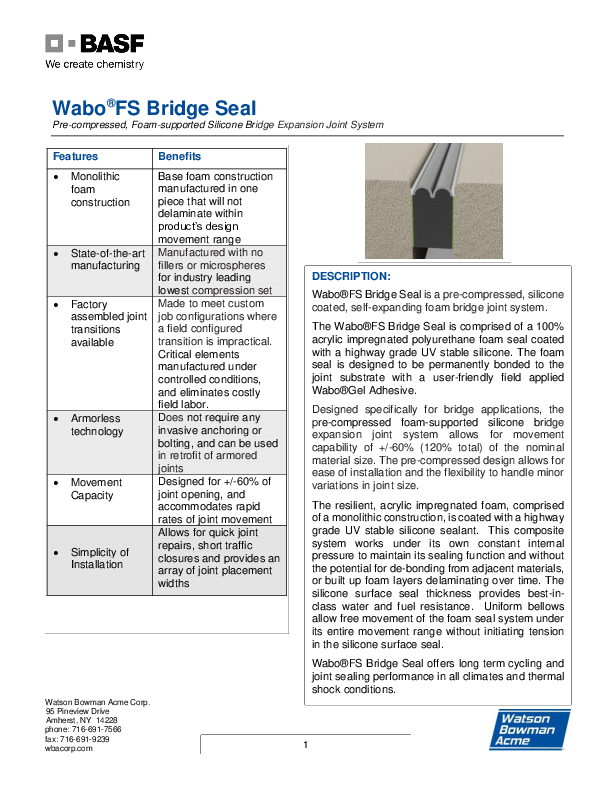 Wabo®FS Bridge Seal (FS) Technical Data Sheet Cover