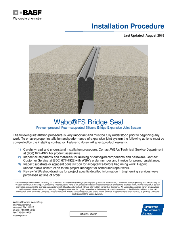 Wabo®FS Bridge Seal Installation Procedure Cover
