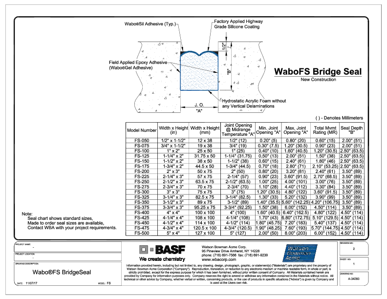 Wabo®FS Bridge Seal CAD Detail Cover