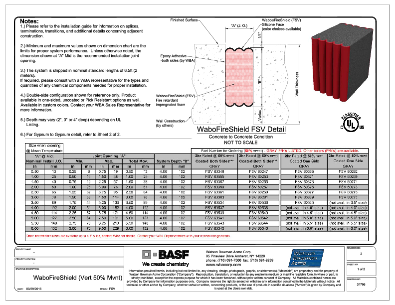 Wabo®FireShield (FSV-Vertical) CAD Detail (50% Mvnt Sht1of2) Cover
