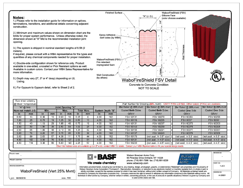 Wabo®FireShield (FSV-Vertical) CAD Detail (25% Mvnt Sht1of2) Cover