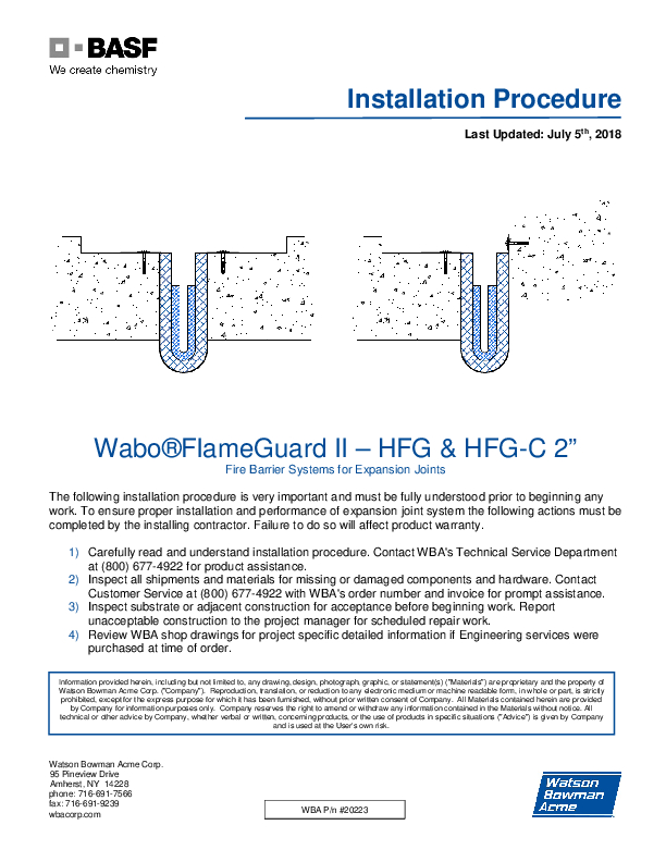 Wabo®FlameGuard II (HFG) Installation Procedure Cover
