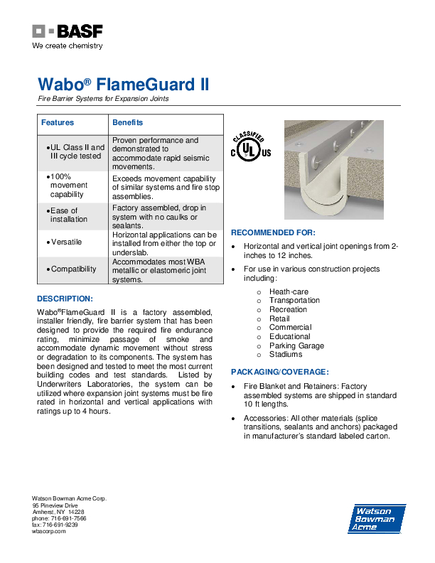 Wabo®FlameGuard II (HFG, UFG, VFG) Technical Data Sheet Cover
