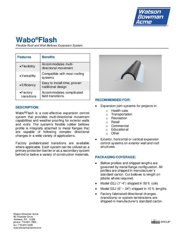 Wabo®Flash (ECF, EEJ, EVS) Technical Data Sheet Cover