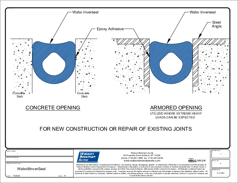 Wabo®InverSeal (IV Concrete & Armored Openings) CAD Detail Cover