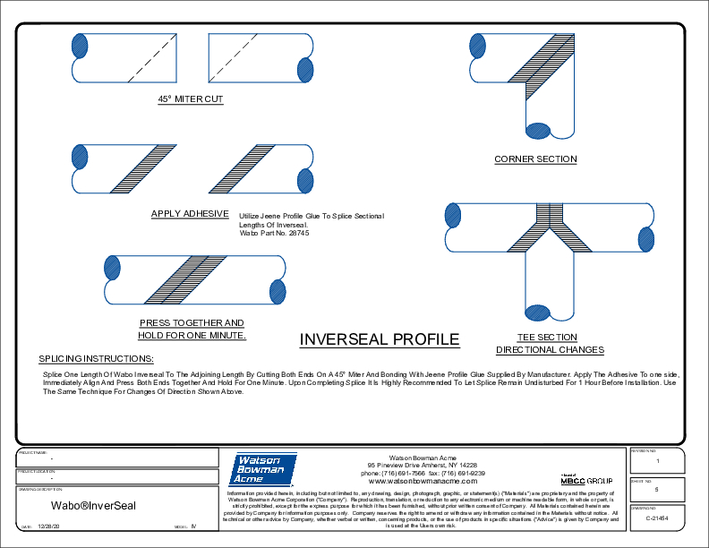 Wabo®InverSeal (IV InverSeal Splicing Instructions) CAD Detail Cover
