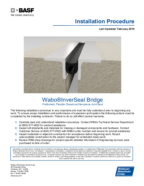 Wabo®InverSeal (IV) Installation Procedure Cover
