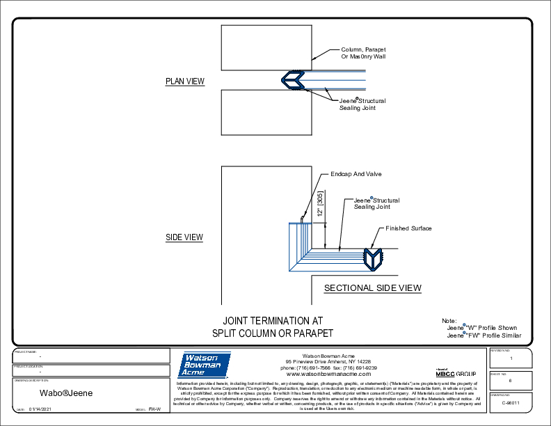 Jeene® (FW-W) Joint Termination at Split Column or Parapet CAD Detail (.pdf) Cover