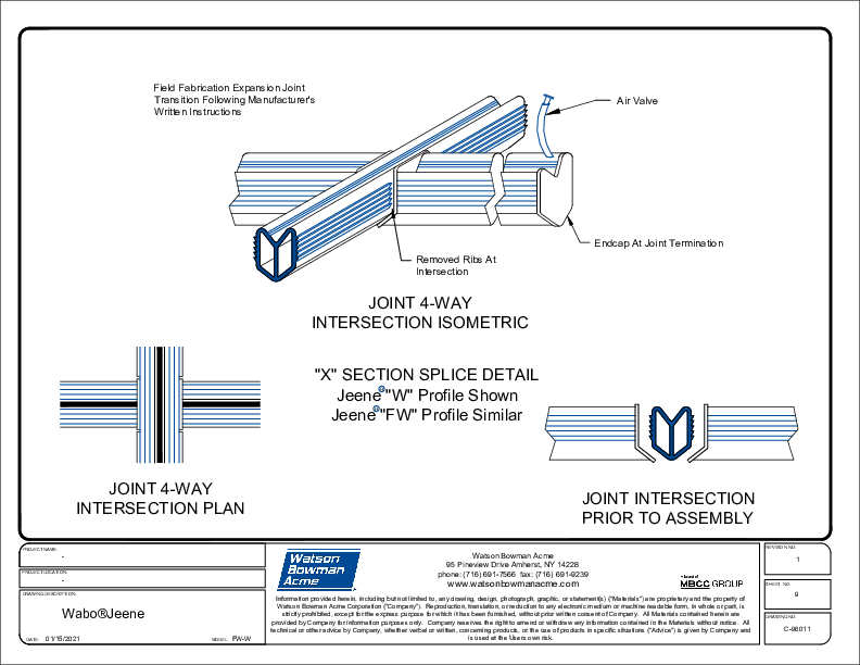 Jeene® (FW-W) Joint 4-Way Intersection Isometric CAD Detail Cover
