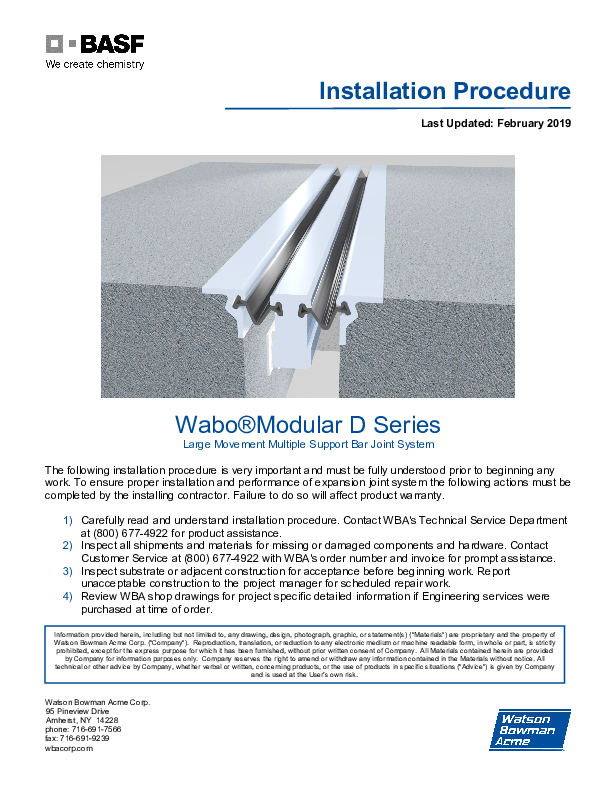 Wabo®Modular (D) Installation Procedures Cover