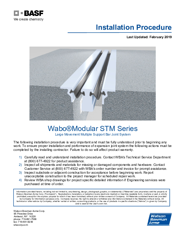 Wabo®Modular (STM) Installation Procedure Cover