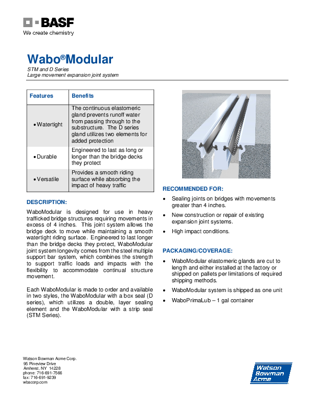 Wabo®Modular (STM & D Series) Technical Data Sheet Cover
