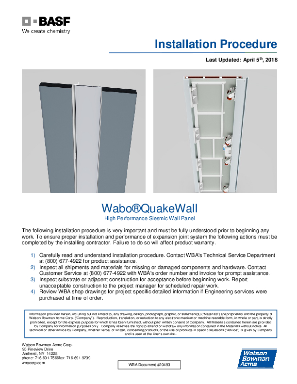 Wabo®QuakeWall (QWE) Installation Procedure Cover