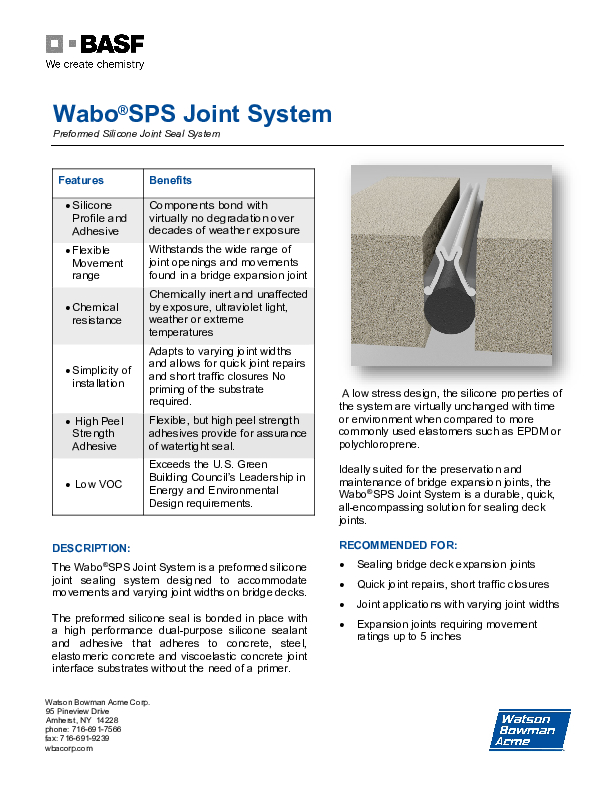 Wabo®SPS Technical Data Sheet Cover
