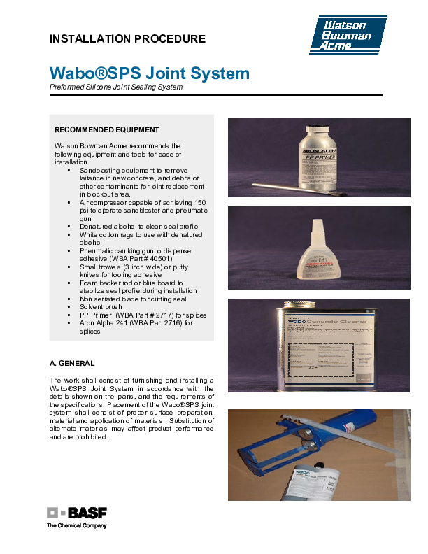 Wabo®SPS Installation Procedure Cover