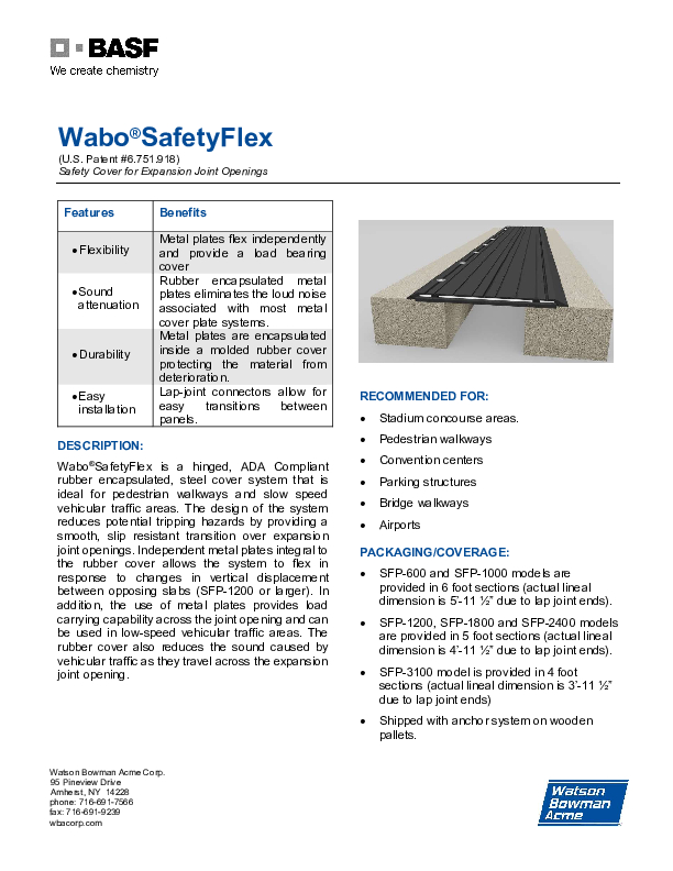 Wabo®SafetyFlex (SFP) Technical Data Sheet Cover