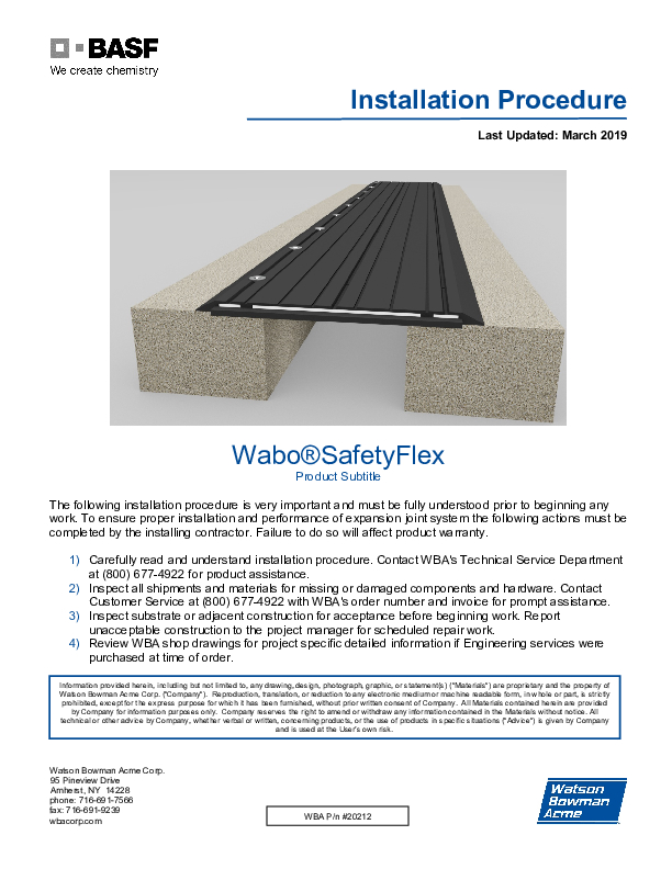 Wabo®SafetyFlex (SFP) Installation Procedure Cover
