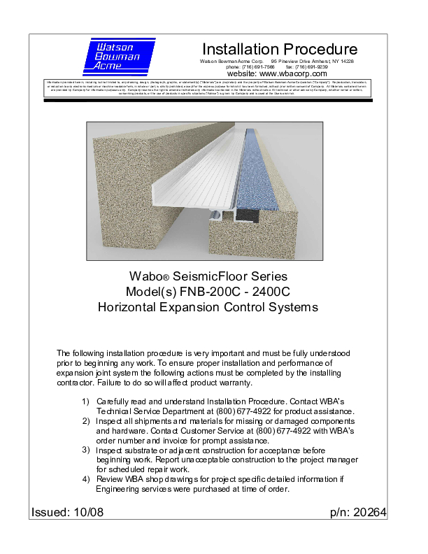 Wabo®SeismicFloor (FNB 200C-2400C) Installation Procedure Cover