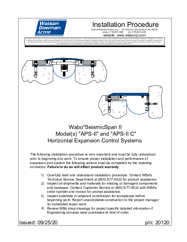 Wabo®Seismic Span II APS-II 0820 Installation Procedure Cover