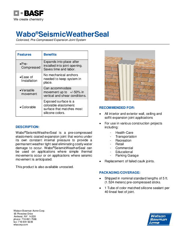 Wabo®Seismic WeatherSeal (SWS) Technical Data Sheet Cover