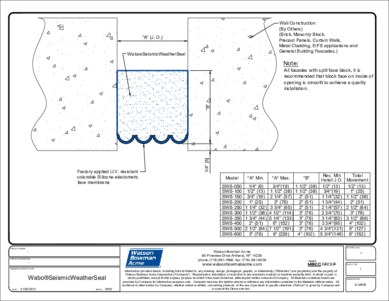 Wabo®Seismic WeatherSeal (SWS) CAD Detail - Sht 1 of 3 Cover