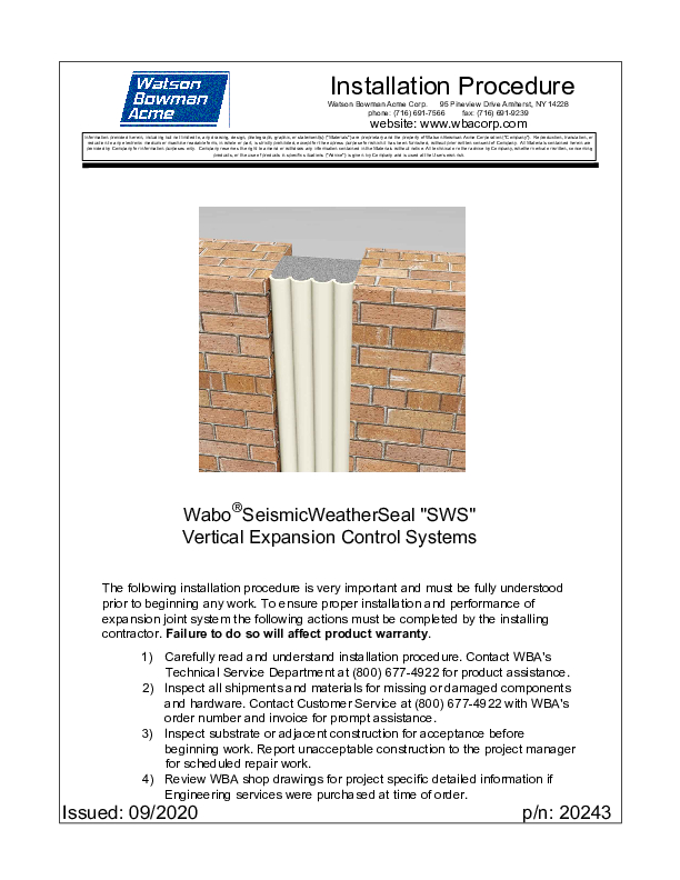 Wabo®Seismic WeatherSeal (SWS) Installation Procedure Cover