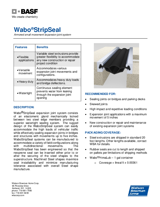 Wabo®StripSeal Technical Data Sheet Cover