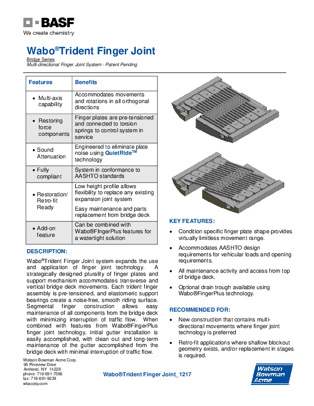 Wabo®Trident Finger Joint Technical Data Sheet Cover