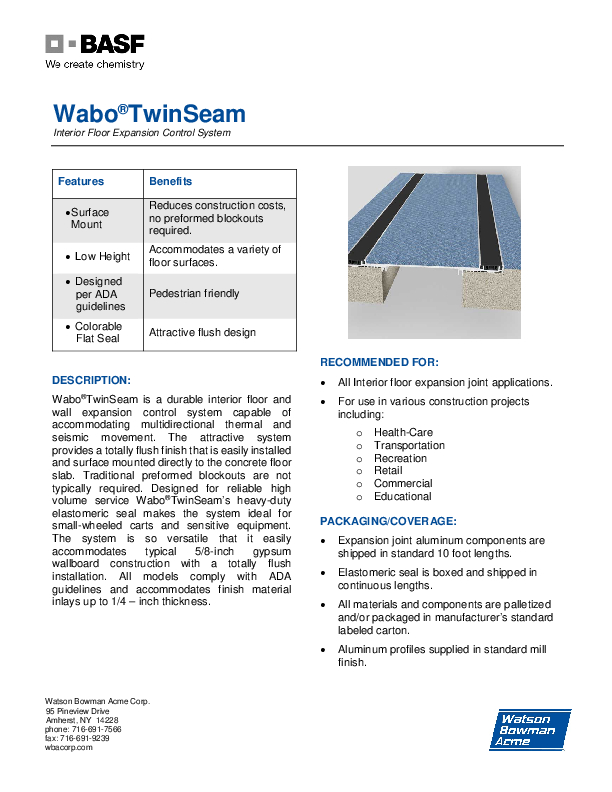 Wabo®TwinSeam (TSF, TSW) Technical Data Sheet Cover