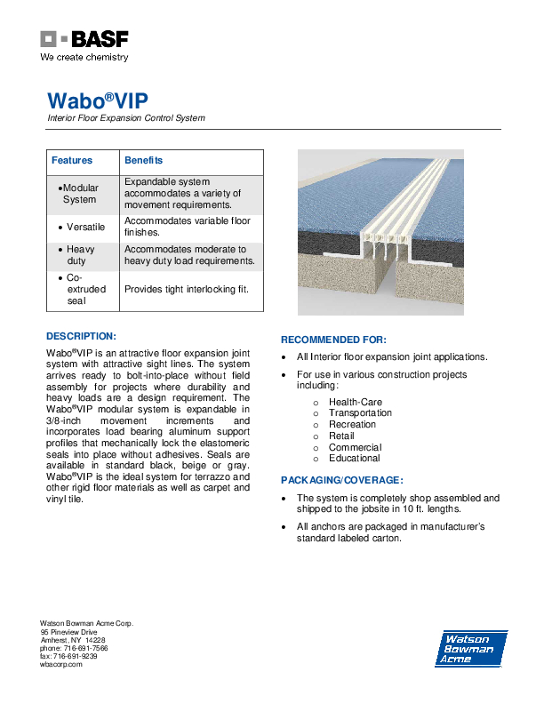 Wabo®VIP (VIP) Technical Data Sheet Cover