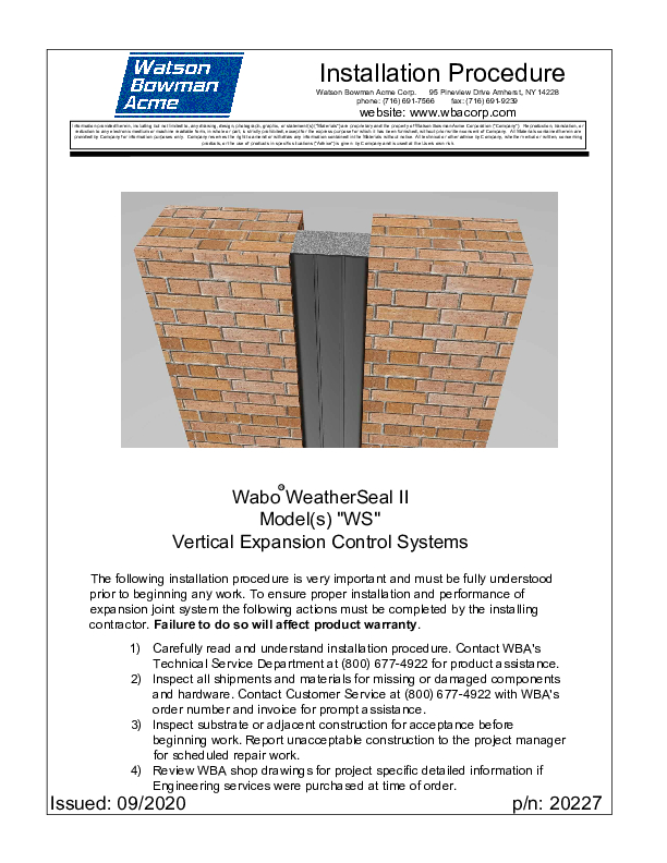 Wabo®WeatherSeal II (WS) Installation Procedure Cover