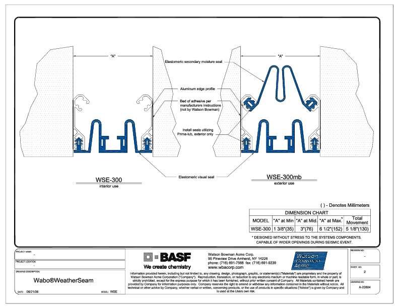 Wabo®WeatherSeam (WSE-300) CAD Detail Cover